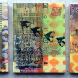 1.FEATURED Encaustic collage- bird tryptic
